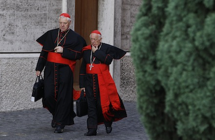 Cardinals Muller and Ezzati arrives for morning session of extraordinary Synod of Bishops on the family at Vatican