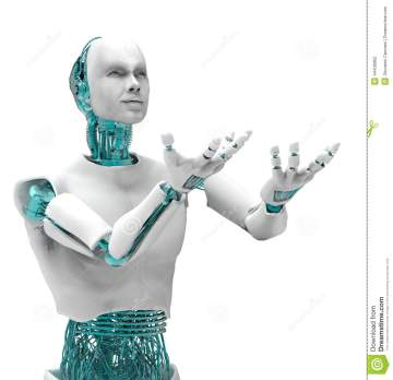 robot-man-d-white-blue-arms-lifted-up-44436962